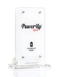 power up spot caricabatterie da tavolo ristorante bar caffè hotel con logo crystal clear