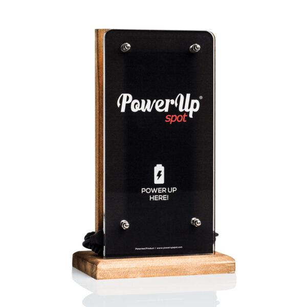 power up spot caricabatterie da tavolo ristorante bar caffè hotel con logo natural wood